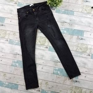 Zara Man Black Distressed Skinny Jeans Size 32